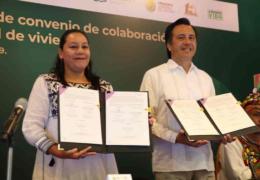 Firman convenio para construcción de vivienda en beneficio de productores de Sembrando Vida